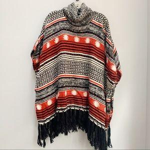 F21 Fringe Sweater Poncho One Size